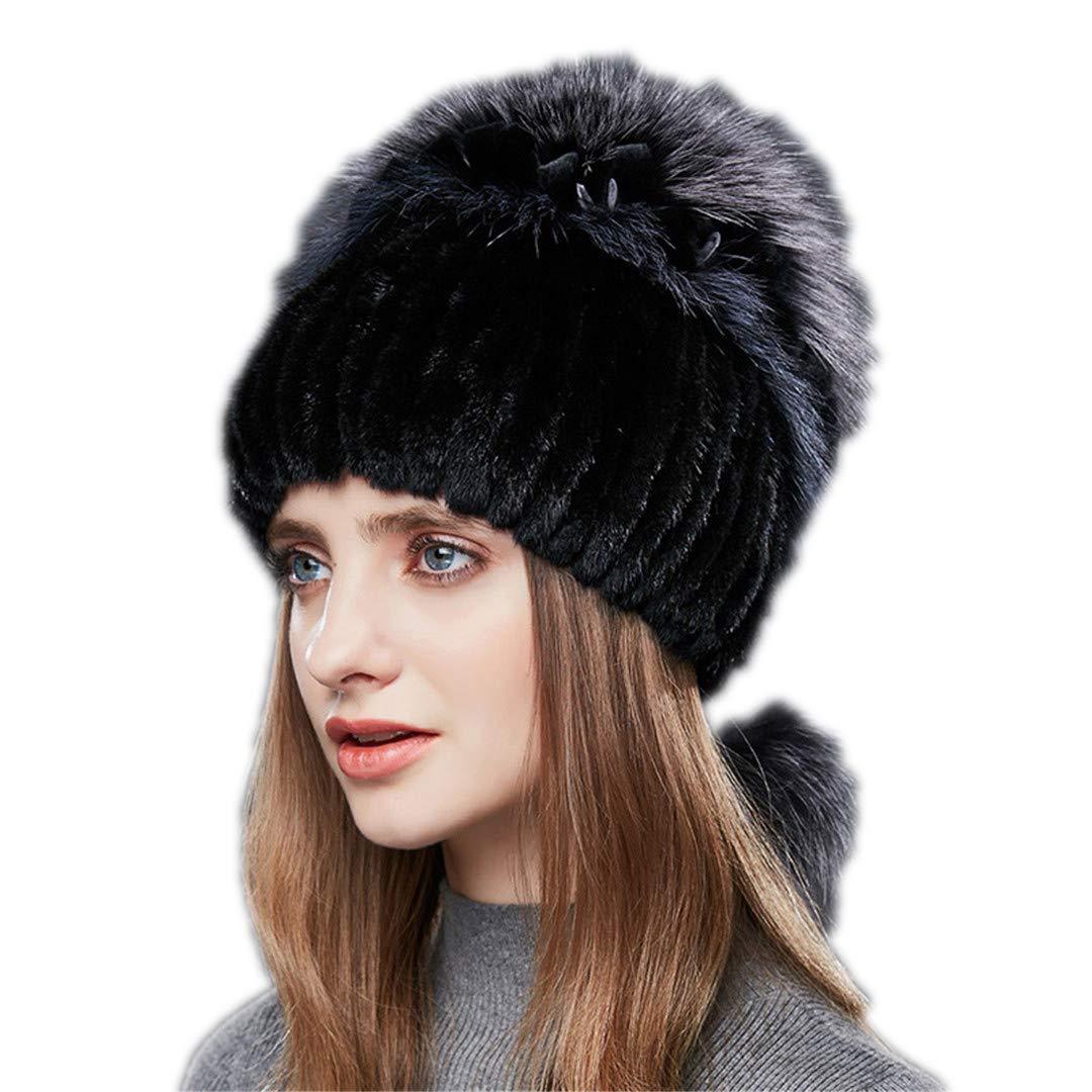 Cashent Double Warm Real Natural Mink Fur Hat Female Mix Color Sliver Fox Fur Women Winter Hats Double