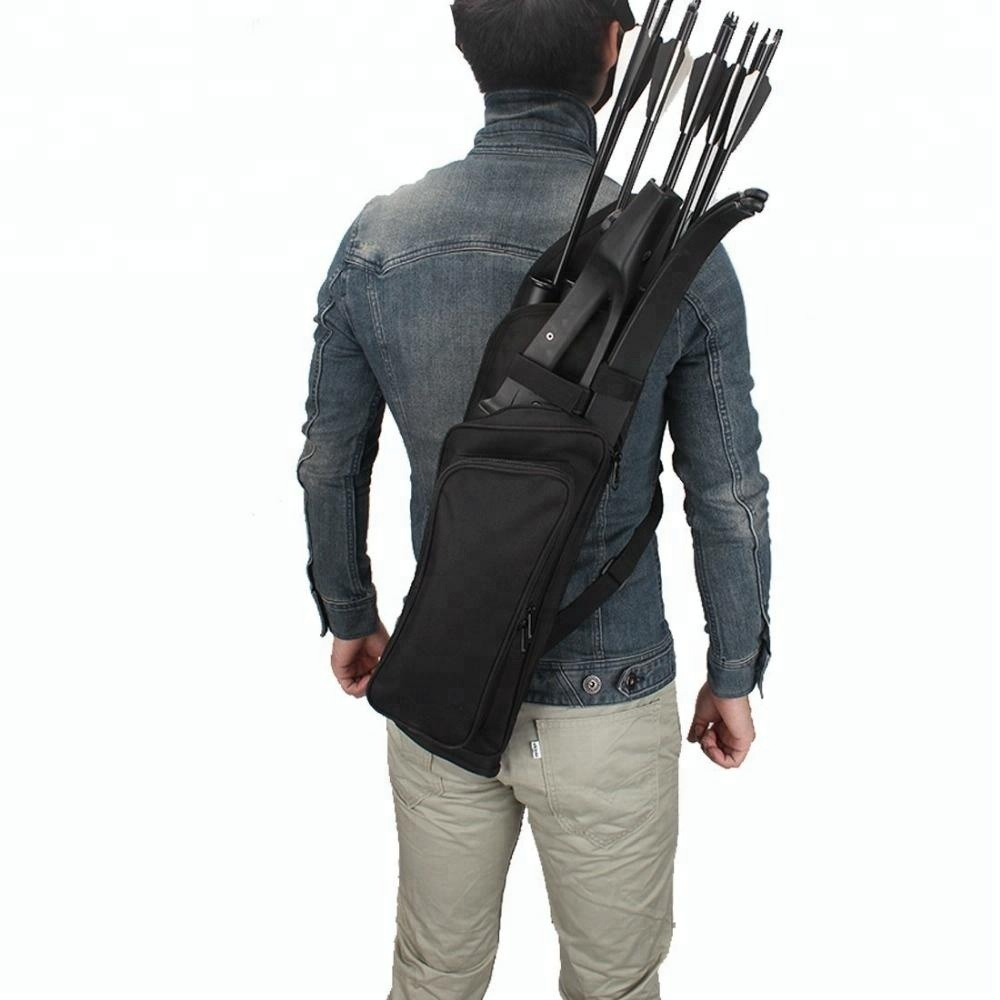 Luckstone double zipper traditional oxford archery back quivers for hunting