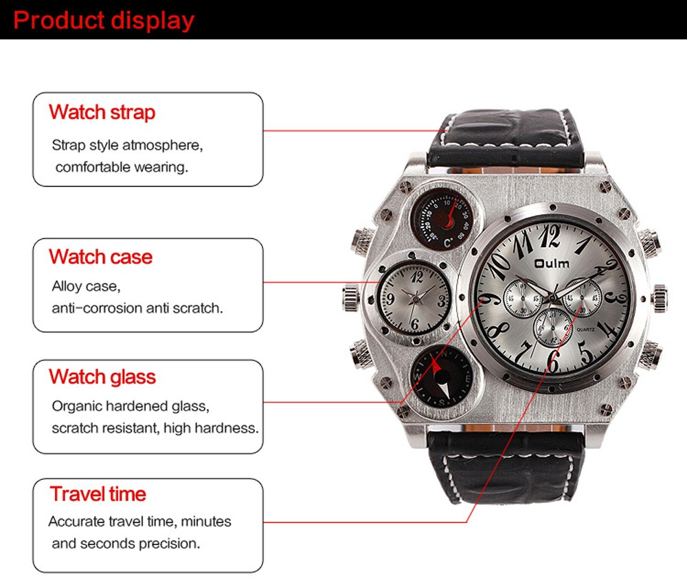 OULM 1349 men Quartz Dual Time Big Face Compass Watch Leather Strap Watch Relogio Masculino