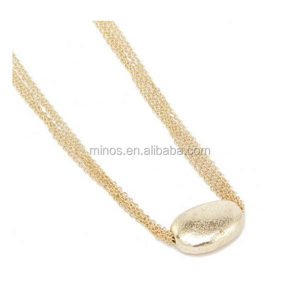 Gold Plated Mulit Chain Necklace , Stainless Steel Golden Nugget Necklace