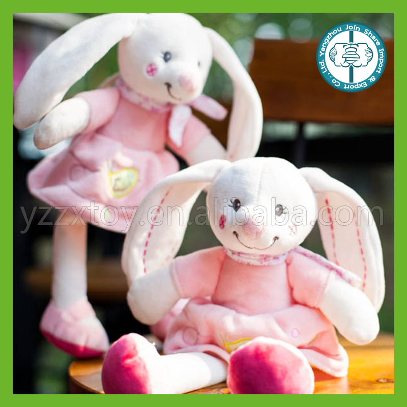 Wholesale kawaii stuffed soft plush pink baby bunny appease toy for baby toys
