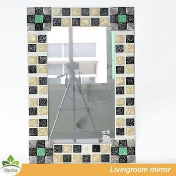 Norhs Square Unique Shell Framed Bathroom Mosaic Mirror Designs For Living Room Wall Decorative