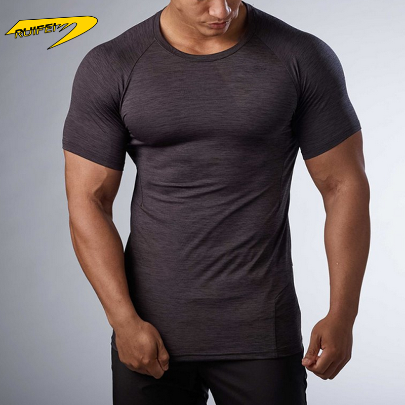 Custom smooth nylon polyester sapndex shirt sport compression close-fitting mens t shirt