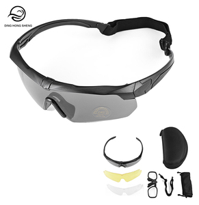Outdoor Sports Cycling UV400 Sunglasses 3 Lens Protective Glasses Tactical Military Airsoft Shooting Anti Explosion Goggles