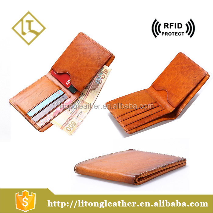 Hot-selling Men's Trendy Purse Wholesale Genuine Leather Wallet Vegetable Tanned Leather wallet