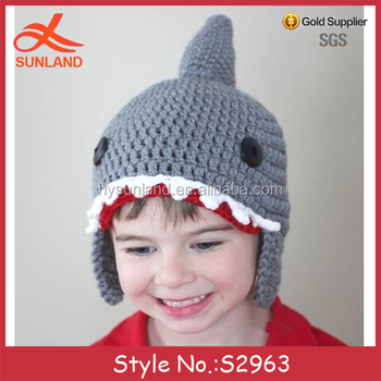 9ca21498bd2 S2963 new handmade knit crochet animal shaped shark hats kids winter hats  with earflap