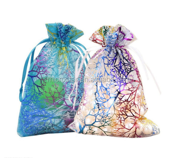 Blue Coralline Pattern Drawstring 9X12cm Organza Jewelry Pouches Wedding Party Christmas Favor Gift Bags