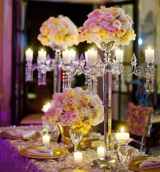 wholesale wedding centerpiece clear crystal & acrylic flower bowl stand candelabra