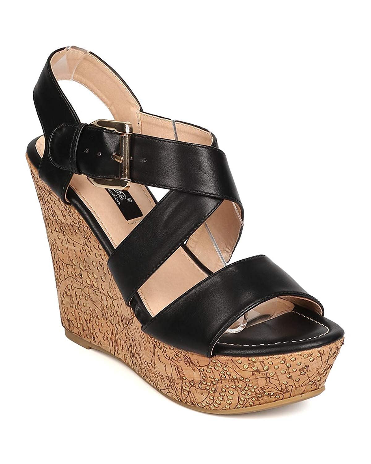 da2ef6133e4d Get Quotations · DbDk Women Leatherette Open Toe Cross Strap Cork Platform  Wedge Sandal FA93 - Black