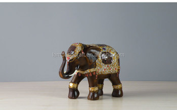 Antique Indian Resin Large Elephant Statues Golden Bronze Brass