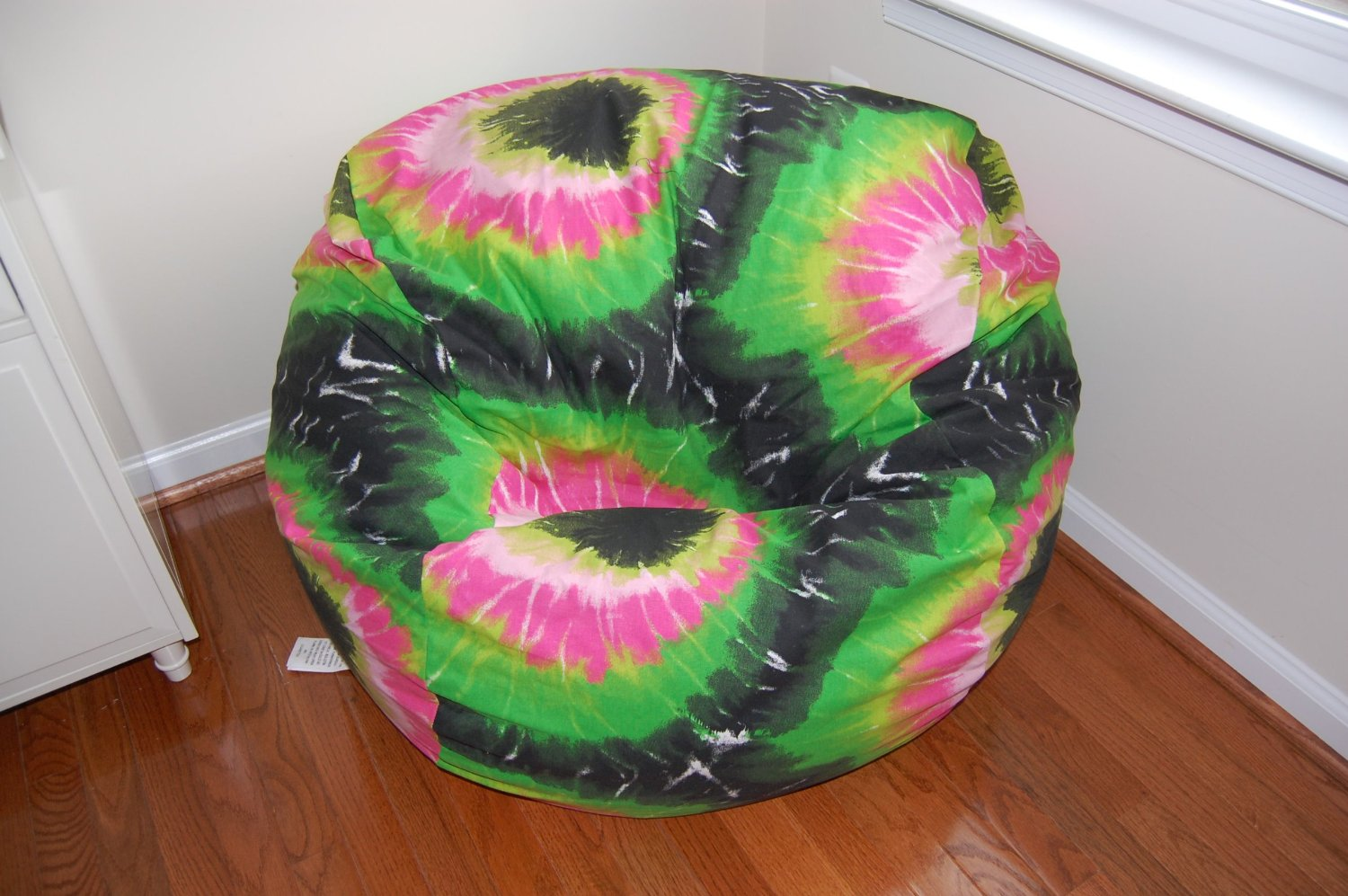Get Quotations · Ahh Products Pink And Green Tie Dye Cotton Washable Bean  Bag Chair
