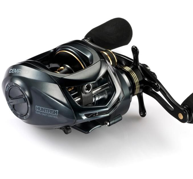 CEMREO Dual Brake 13+1BB 8kg 205g Fishing Baitcasting Reel, Gold/black