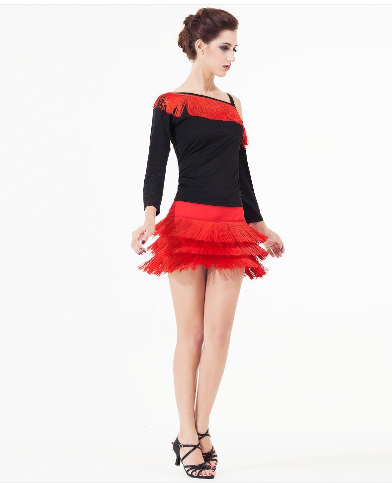 女性のセクシーなフリンジタッセル社交サルサ衣装タンゴラテンルンバダンスドレス