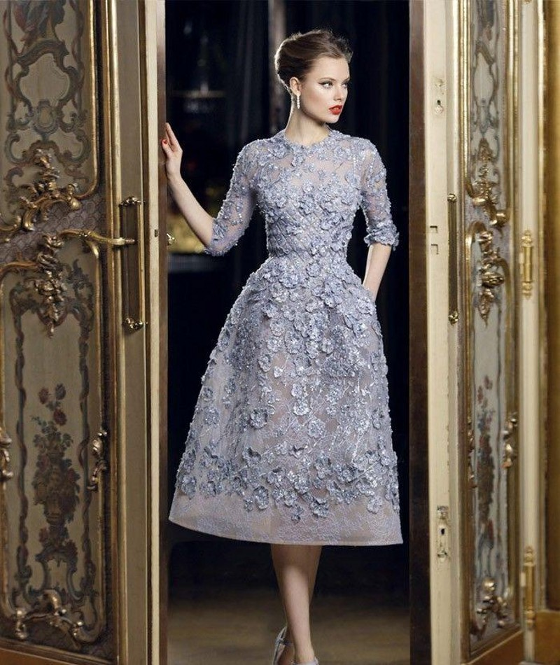 Couture Evening Gowns And Dresses: Latest Couture Evening Dresses Elie Saab Half Sleeve 2016