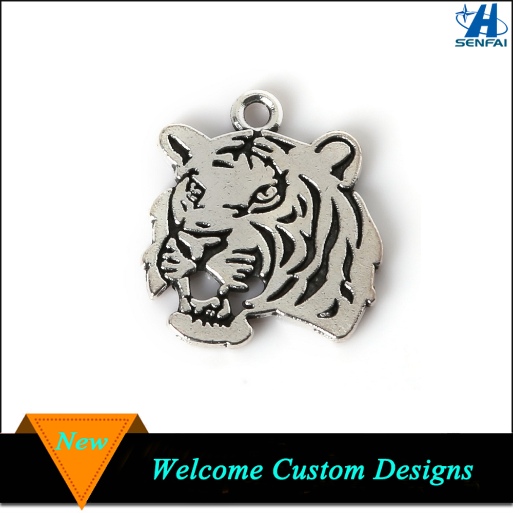 Jewelry Findings 27mmx24mm Antique Silver Tone Tiger Head Charm Custom Tiger Charm