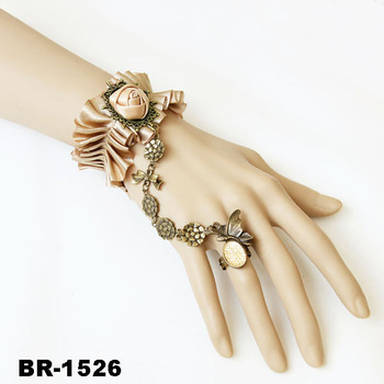 Green Fabric Slave Bracelets With Ring Erfly And Flower Pendant Metal