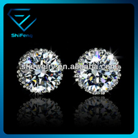 Platinum Plated Crown Top quality AAA Diamond Fashion CZ Stud Earring