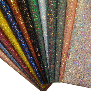 Colorful faux leather chunky glitter fabric for bow