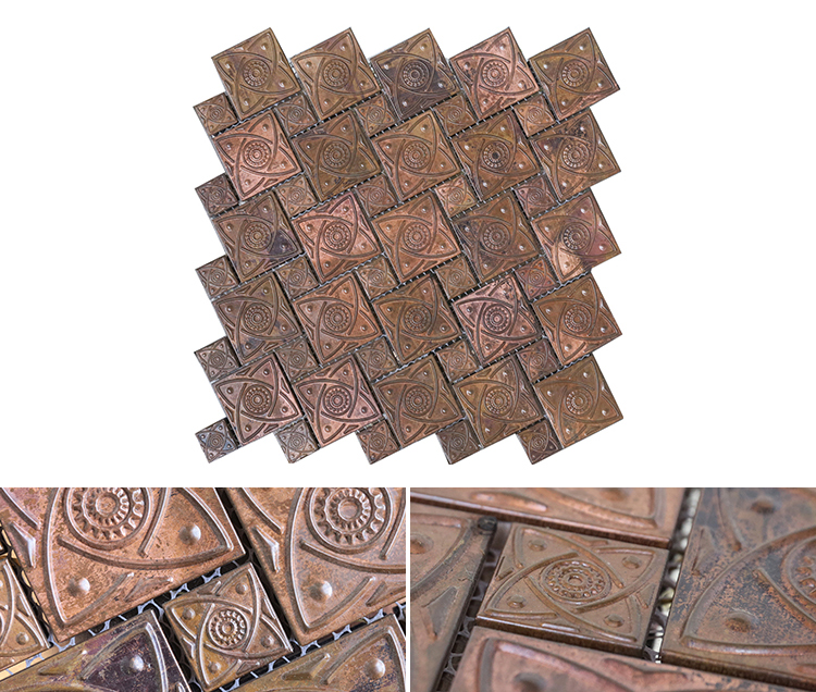 Luxury bronze modern design bargain price special square brushed metal mosaic bronze / copper mosaic tile pool