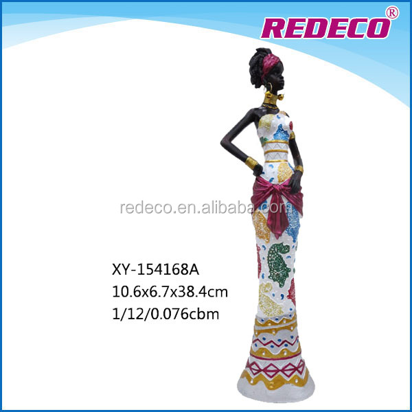 Resin handcraft african lady statue for sale