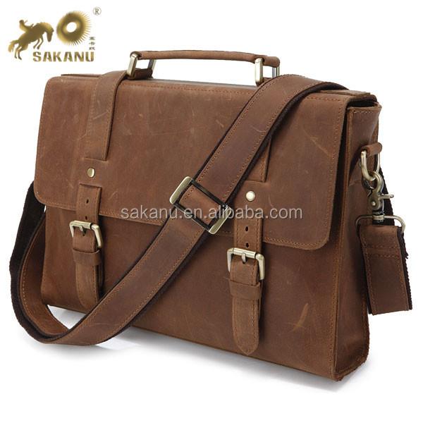 Männer Echte Vintage Brown Leder Messenger Schulter Laptoptasche Aktentasche