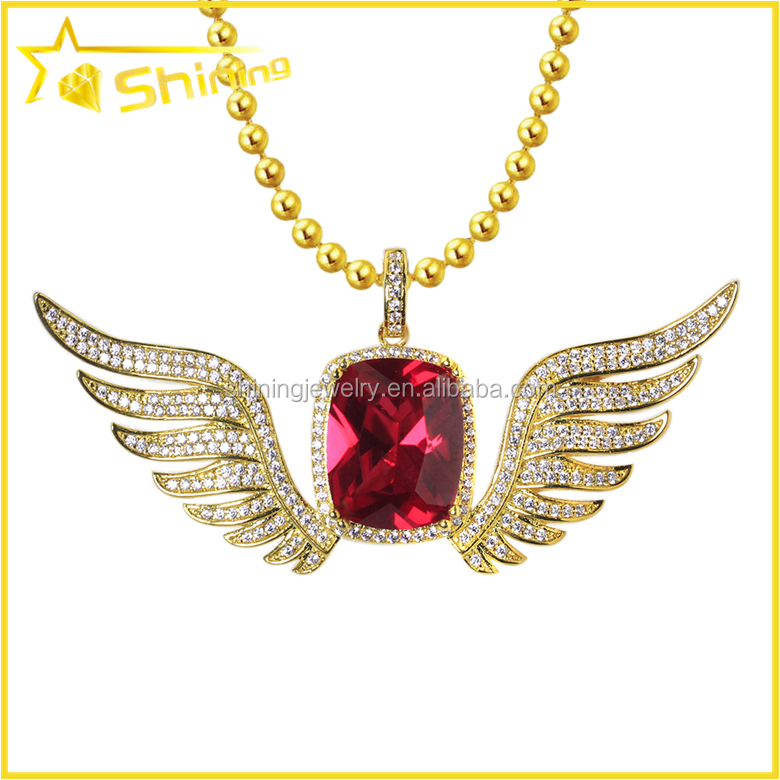 Gold Tone 925 Silver Ruby CZ Solitaire Pendant Guardian Angel Wings Charm