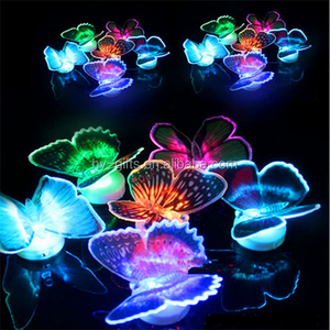 colorful night light fiber optic led butterfly flashing light butterfly
