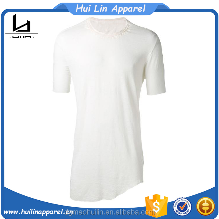 Wholesale mens clothing white linen blend oversized fit t-shirt curved hem t shirt men
