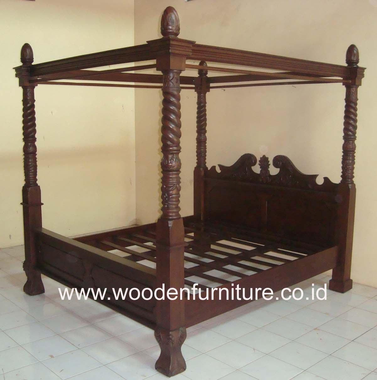 Teak hemelbed houten bed bed vier posters vintage antieke ...