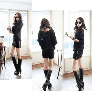 western lady long sleeve batwing dress sexy fashion women casual dresses
