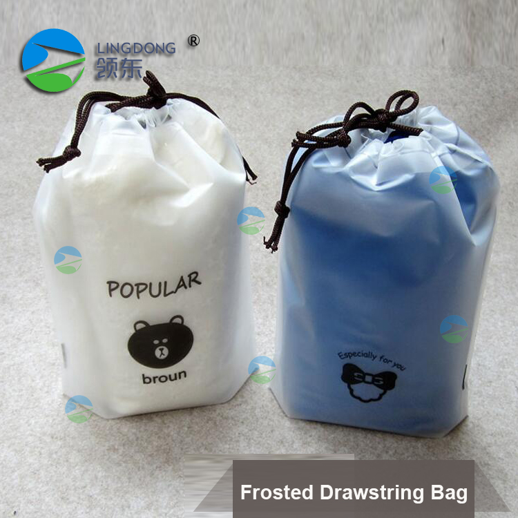 Biodegradable plastic CPE Bags Frosted pu waterproof Drawstring Dag for ipad headphone