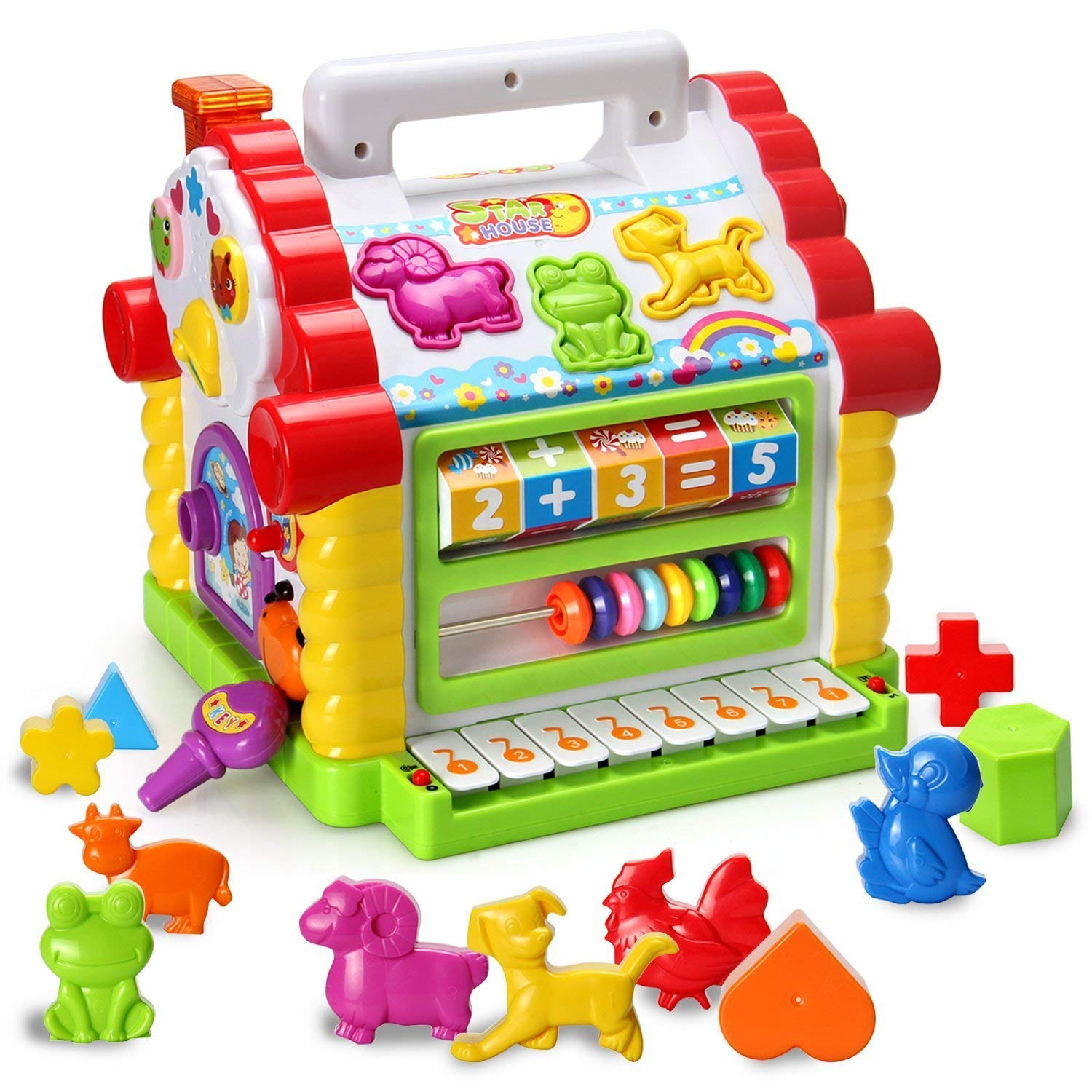 5af10508c87c Get Quotations · HOMOFY Baby Toys Colorful Musical Baby Little Fun House  Lights   Music