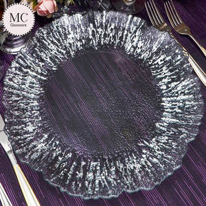 Silver glitter colorful flowers dinner plate of glass