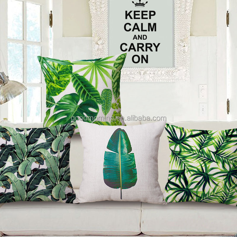 Banana Palm Leaves Throw Pillow Tropical Outdoor Cushion Cover
