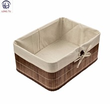 Decorative Round Cornered Brown Storage Baby Fruit Baskets Bamboo With Cloth Liner