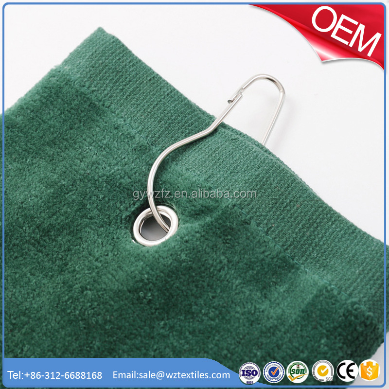 High Quality Home Textile Cotton Velour Golf Towel Tri Fold