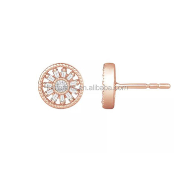 6a10076e70b Rose Gold Plated 925 Sterling Silver Cubic Zirconia Diamond Baguette Cut Cz  Round Shape Stud Earrings - Buy Diamond Round Shape Stud Earrings,Baguette  ...