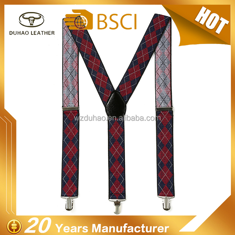 Customized X-Back Adjusted Clip-on Suspender Belt Elastic Suspenders For Men
