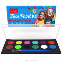 Colorful FDA Approved Water-Based Face Paint and body paint Kit-12 Colors with 2 Glitter