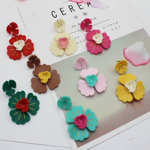 European Factory Direct Wholesale Cheap Cute High-quality Acrylic Flower Charm Clip Earrings For Women