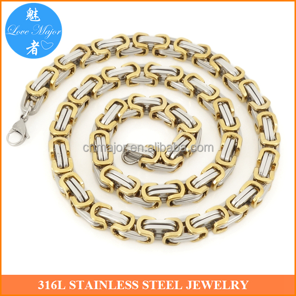 Fashionable Gold Plated Byzantine Chain Stainless Steel Jewelry Necklace for Women and Men