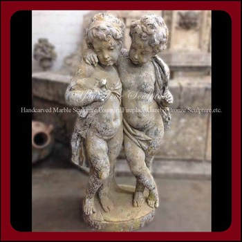 Gemini Putti Antique Stone Outdoor Children Garden Statues