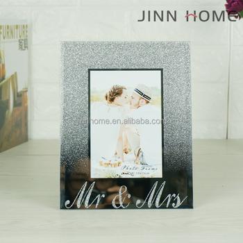 24dee9fa349 Mr   Mrs Silver Mirror Bling Glitter Memory Wedding Mirror Glass Photo Frame  Modern Picture Frame