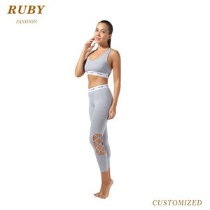 Top quality wholesale cotton spandex sports yoga bra and legging set for women