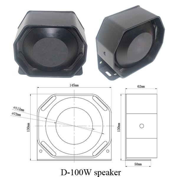 100 Watt Police Siren Speaker D-100W