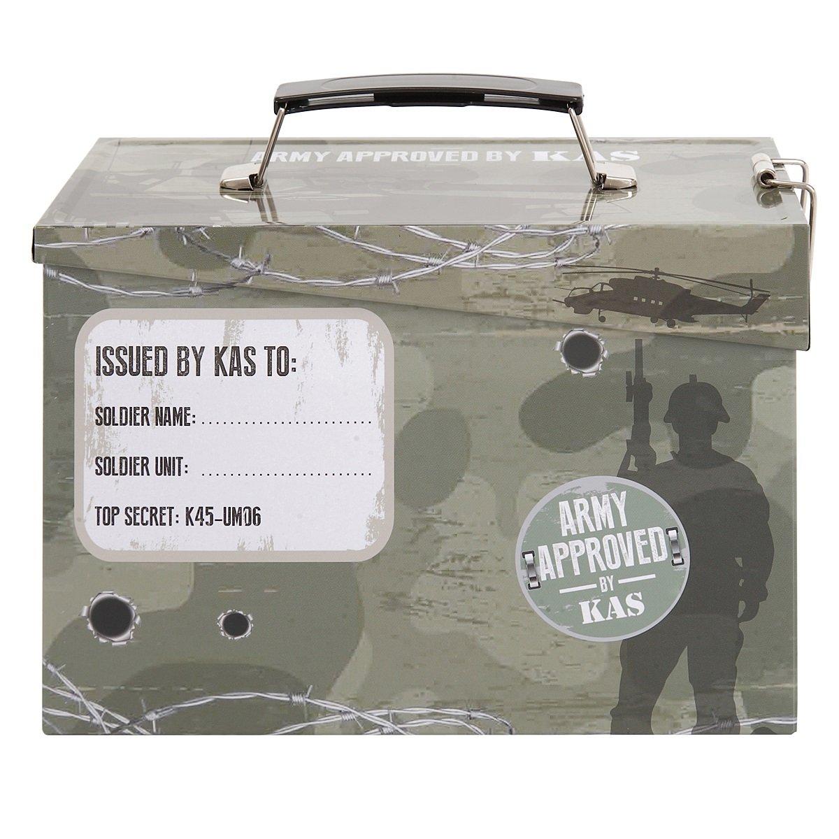 Kids Army Ammo Tin Lunch Box - Toy Storage Tin - Camouflage Ammo Box by KAS