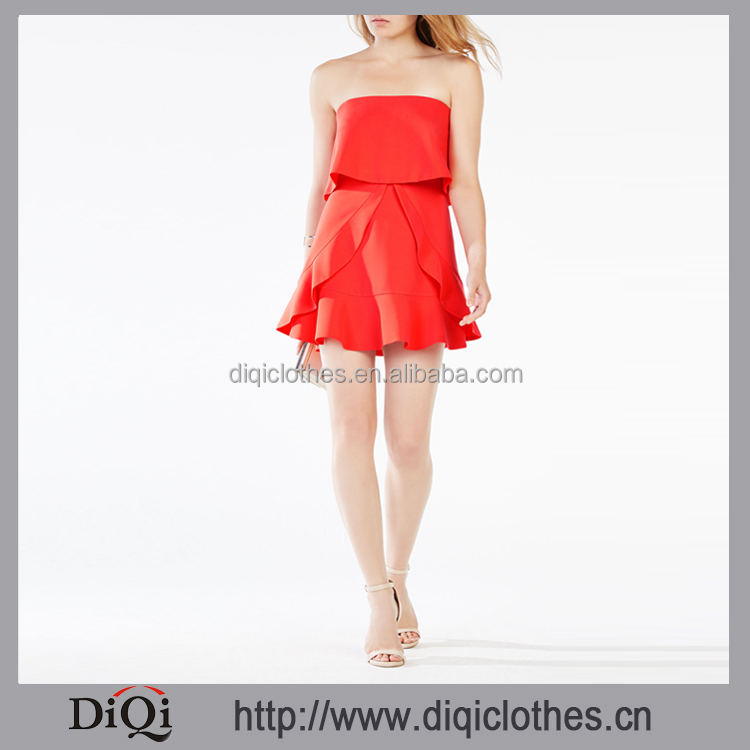 Wholesale High Fashion Apparel Designs Red Strapless Zip Back Closure Ruffled Mini Sexy Satin Female Dress