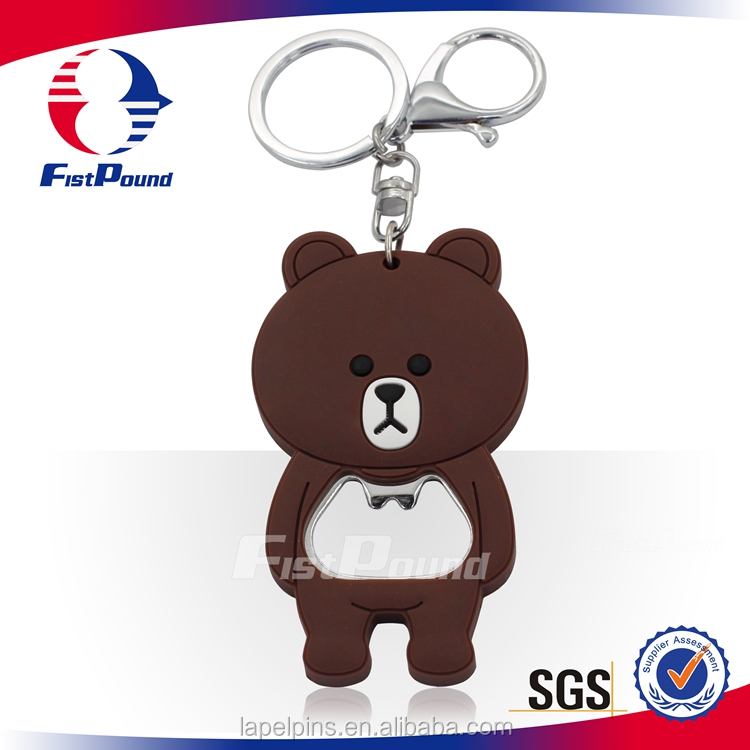 Line Bronze Bear Popular PVC key chains With Bottle Opener