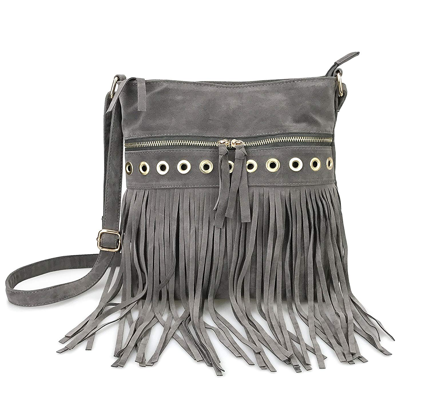 ba47212756f Get Quotations · Hoxis Studded Tassel Zipper Faux Suede Leather Cross Body  Bag Womens Purse