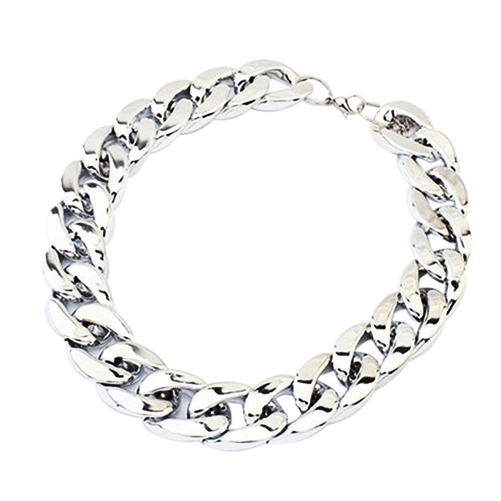 Necklace - TOOGOO(R) Christmas Gift Chunky Curb Punk Fashion Shiny Link Chain Necklace Silver